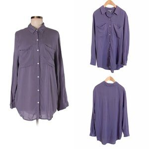 RUBBISH Nordstrom Purple Slouchy Button Down Top